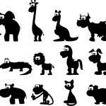 Cartoon silhouetten van dieren — Stockvector