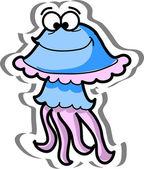 Cute cartoon jellyfish — Stock Vector