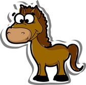 Cartoon cute horse, vector — Vector de stock