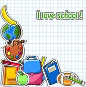 School achtergrond, vector tekening — Stockvector