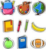 Cartoon school bag, pencil, book, notebook, pen, globe, palette of paints — Stock Vector