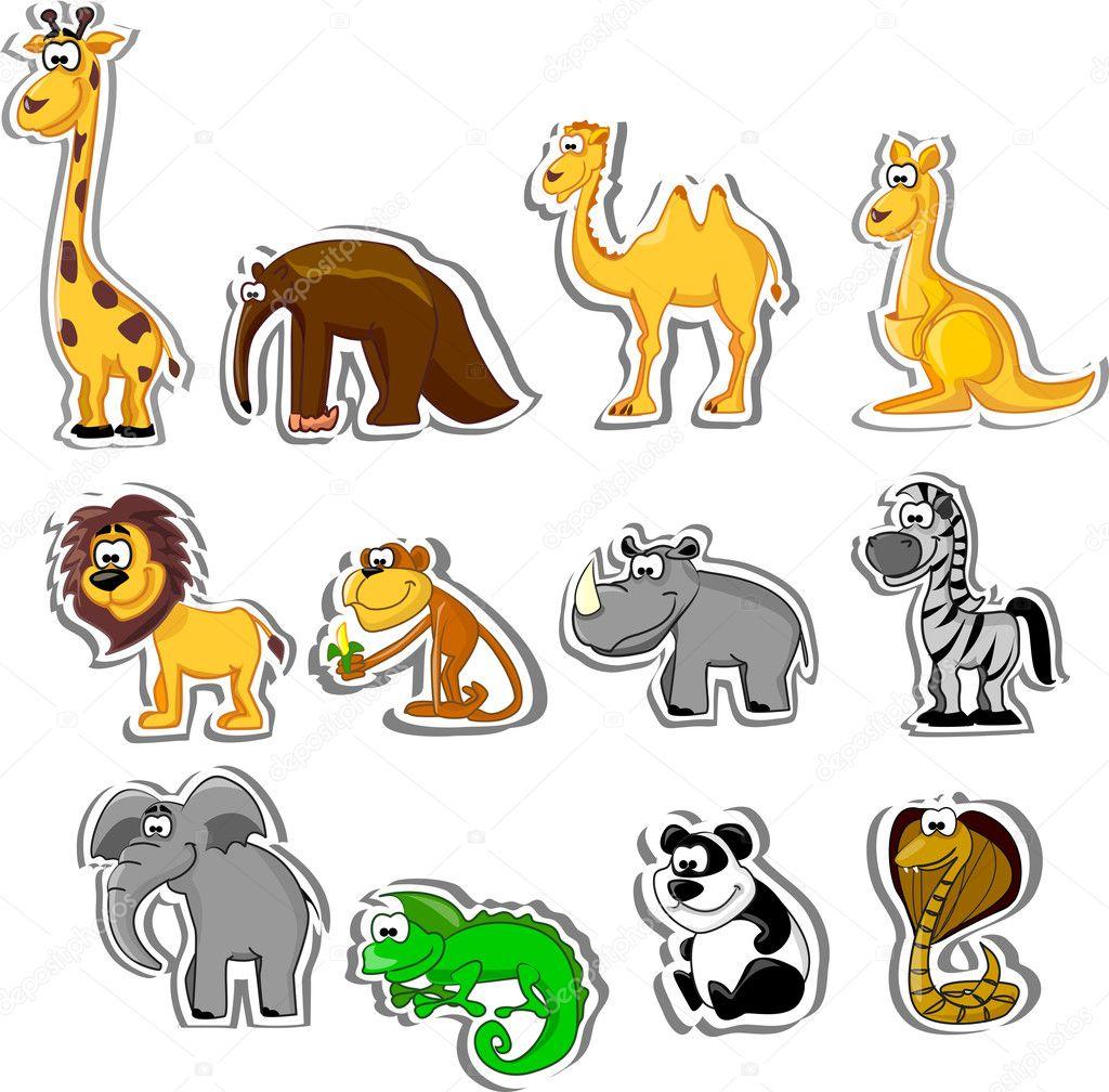 Big set of cartoon animals stock illustration