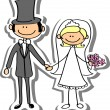 Cartoon wedding picture — Stock Vector