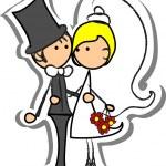 Cartoon wedding picture — Stock Vector