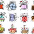 Stock Vector: Birthday gifts and cupcakes