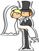 Wedding picture, bride and groom in love — Stock Vector