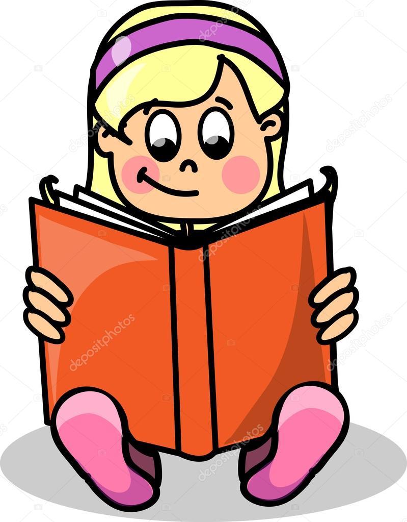 Cartoon Pics Reading Books Cartoon Girl Reading a Book