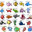 Big set of cartoon fishes - Stock Vector