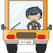 Stock Vector: Cartoon driver