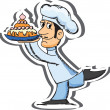 Stock Vector: Cartoon chef with cake
