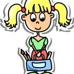 Cartoon cute schoolgirl — Stock Vector #19810595