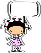 一条横幅的女孩 — 图库矢量图片