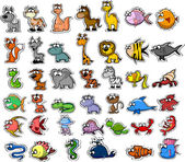 Big set of cartoon animals and fishes — Vector de stock