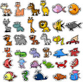 Big set of cartoon animals and fishes — Stock Vector