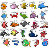Big set of cartoon fishes — Stock Vector