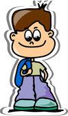 Cartoon cute schoolboy — Stock Vector