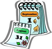 Calendario dei cartoni animati — Vettoriale Stock
