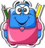 Cartoon skolväska, penna, bok, notebook, penna, världen — Stockvektor