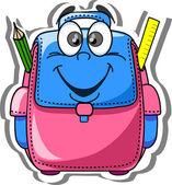 Cartoon school bag, pencil, book, notebook, pen, globe — Stock Vector