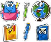 Kreskówka, plecaki szkolne, ołówki, książki, notebooki, pióra, świecie — Wektor stockowy