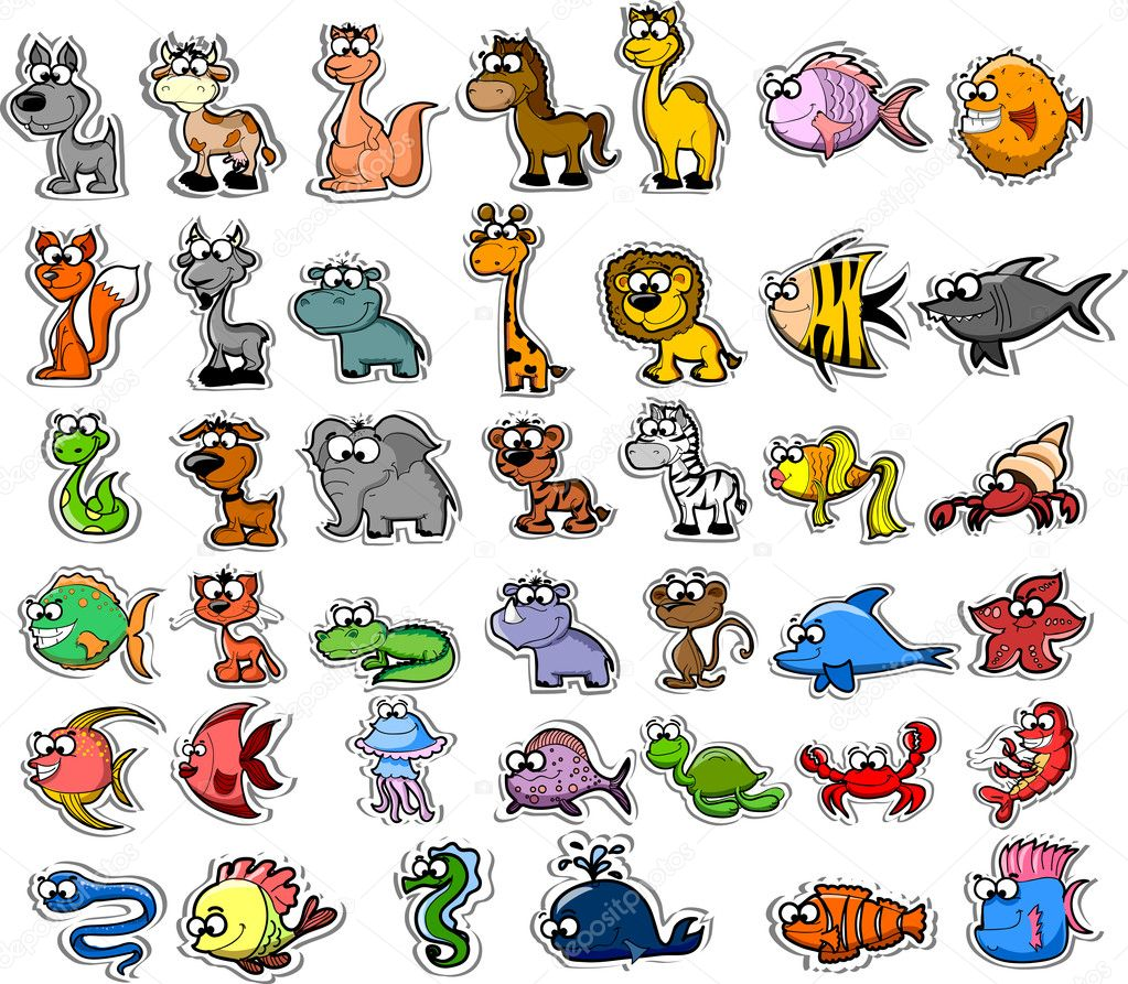 Big set of cartoon animals and fishes — Stock Vector #19810281