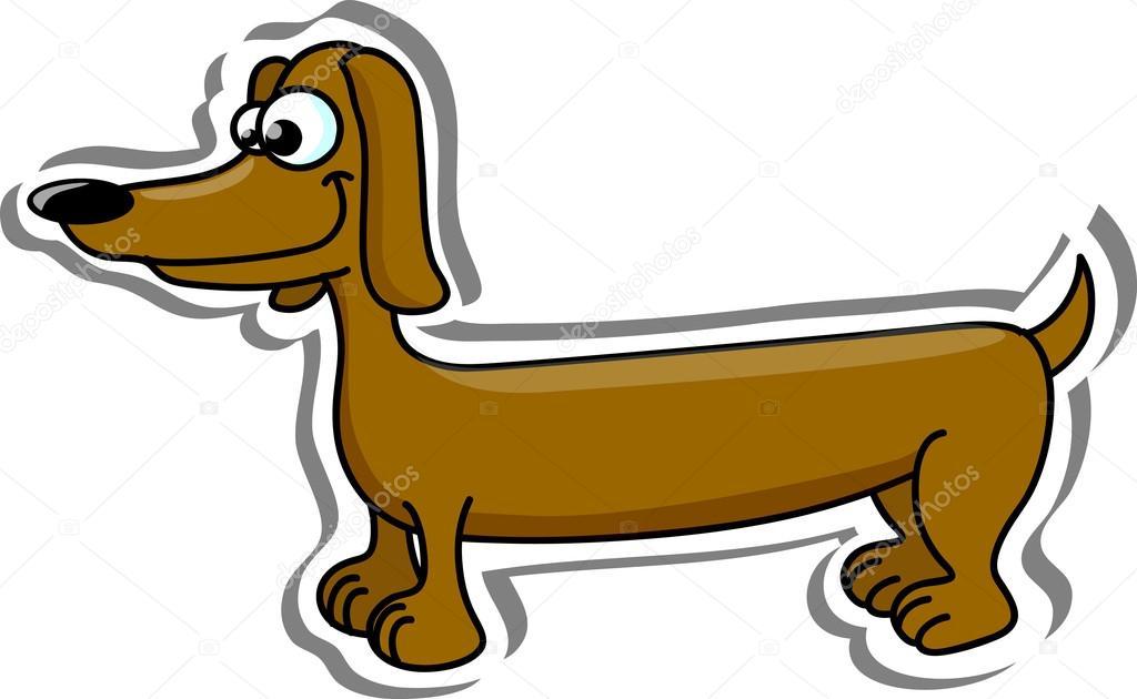 Bassotto di razza cane dei cartoni animati — vettoriali