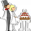 Wedding picture, bride and groom in love, the vector - Imagen vectorial