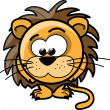 Cartoon cute lion, vector — Stock Vector