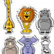 Set of cartoon animals - Stock Vector
