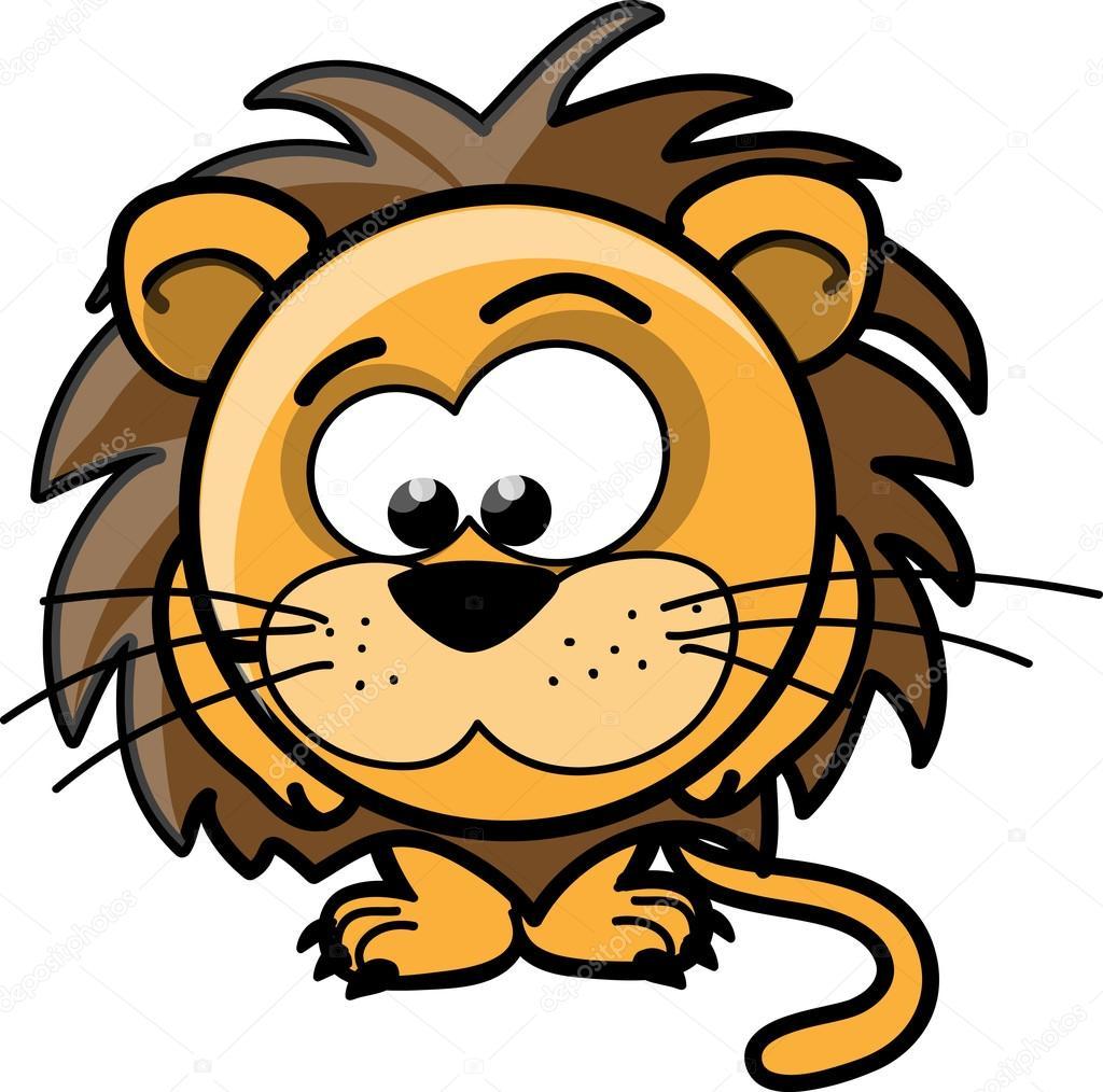 Cartone animato carino leone vettoriale — vettoriali