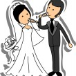 Wedding picture, bride and groom in love, the vector — Image vectorielle