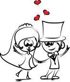新郎新婦の結婚式漫画 — ストックベクタ