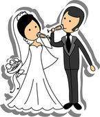 Wedding picture, bride and groom in love, the vector — Stock Vector