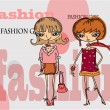 Cartoon fashionable girls, background — Stock Vector