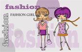 Cartoon fashionable girls, background — Stock Vector