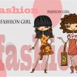Royalty-Free Stock Vector Image: Cartoon fashionable girls, background