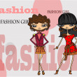 Cartoon fashionable girls, background - Imagens vectoriais em stock