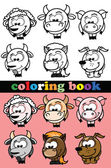 Coloring book of animals, vector — Vector de stock