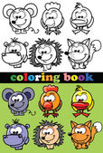 Coloring book of animals, vector — Stok Vektör