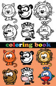 Coloring book of animals, vector — Vecteur