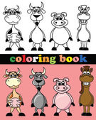 Coloring book of animals — Stock Vector