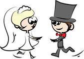 Aantal foto's bruiloft, bruid en bruidegom in de liefde, de vector — Stockvector