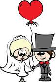 愛はベクトルで新郎新婦の結婚式の写真のセット — ストックベクタ