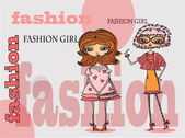 Ragazze alla moda dei cartoni animati, sfondo — Cтоковый вектор