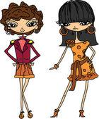 Cartoon fashionable girls, vector — Stock Vector