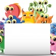 Cartoon cute Monster mit Banner — Vektorgrafik