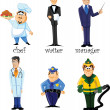 Stock Vector: Cartoon characters manager, chef, policeman, fireman, waiter, doctor