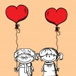Valentine doodle boy and girl, vector — Stock Vector #22967268