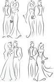 Silueta de la novia y novio, fondo, invitación de la boda, el vector — Vector de stock