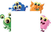 Cartoon cute monsters with banners — Stock Vector